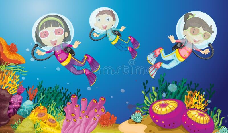 Miúdos subaquáticos ilustração royalty free