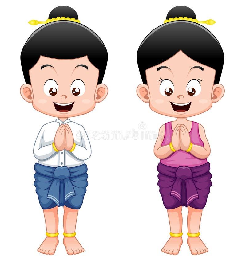 Miúdos tailandeses, Sawasdee ilustração do vetor