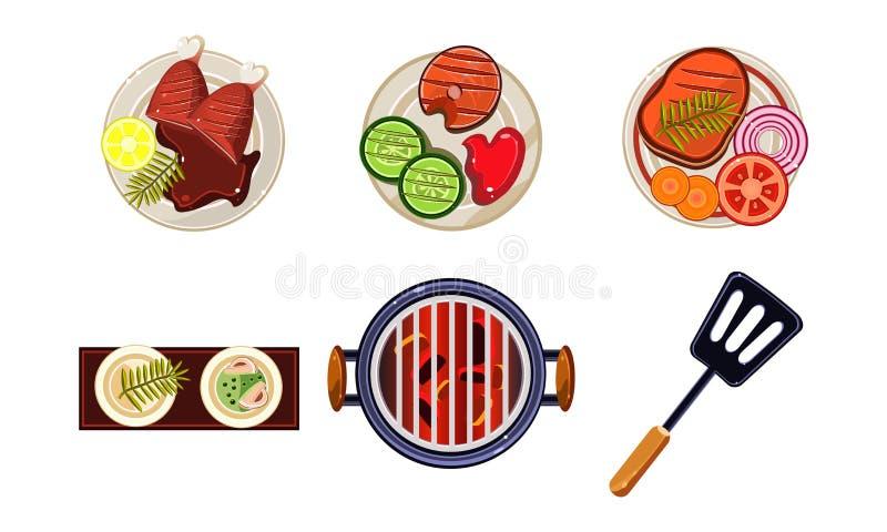 Mięśni i rybi naczynia gotujący na grillu, smakowity zdrowy jedzenie, odgórnego widoku wektorowa ilustracja na białym tle ilustracja wektor