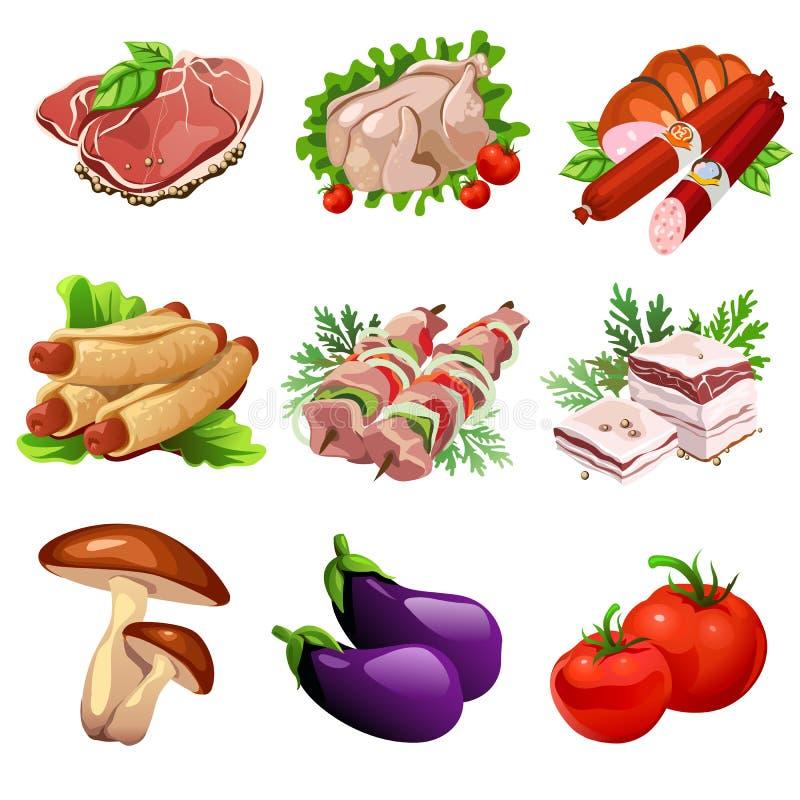 Mięśni produkty i warzywa Jedzenie w kreskówka stylu Duży wektorowy ustawiający dziewięć ikon dla kulinarnych projektów projektów ilustracja wektor