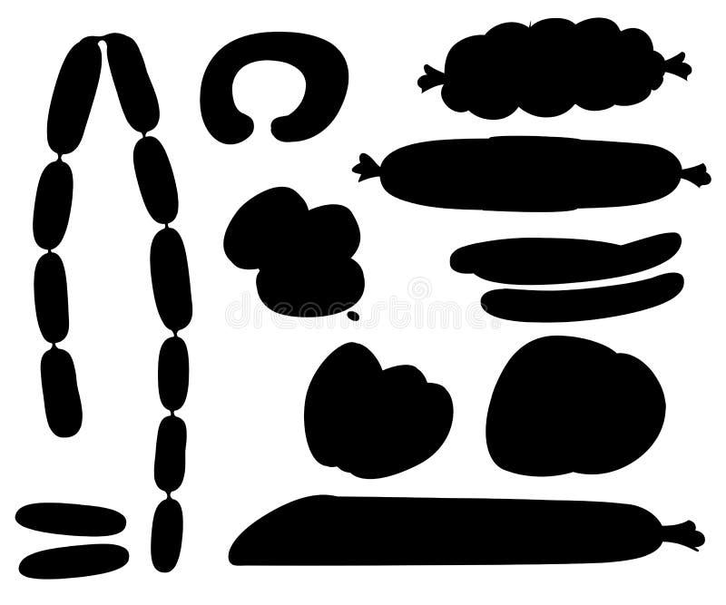 Mięśni produkty, kiełbasa, bekon, baleron, wołowina, wieprzowina pojedynczy kiełbasiany białe tło Czarna ikony kiełbasa Wektorowy ilustracja wektor