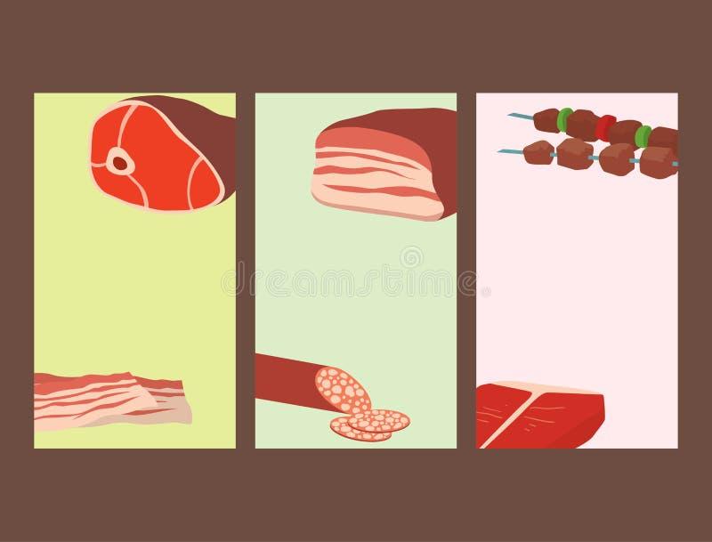 Mięśni produkty ustawiający kreskówek kart grilla kebabu wyśmienicie rozmaitości zwierzęcia i posiłku asortymentu wyśmienicie wyś royalty ilustracja