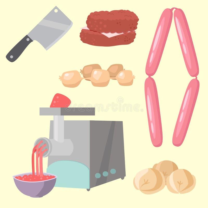Mięśni produkty ustawiający kreskówka grilla kebabu wyśmienicie rozmaitości posiłku wyśmienicie wyśmienity asortyment pokrajać ba ilustracja wektor
