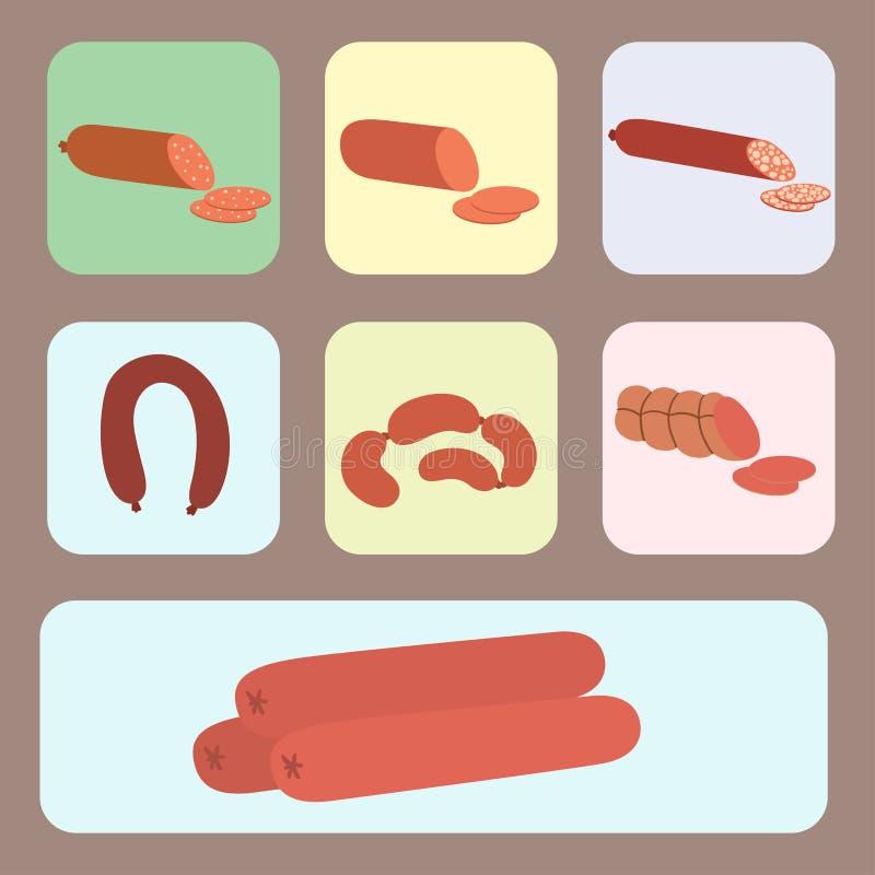 Mięśni produkty ustawiający kreskówka grilla kebabu wyśmienicie rozmaitości zwierzęcia i posiłku wyśmienicie wyśmienity asortymen ilustracji