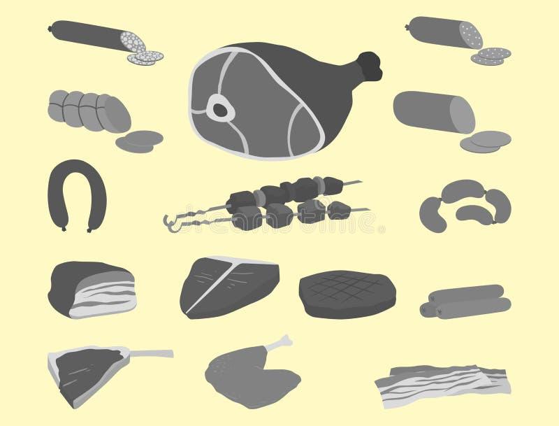 Mięśni produkty ustawiający kreskówka grilla kebabu wyśmienicie rozmaitości zwierzęcia i posiłku wyśmienicie wyśmienity asortymen royalty ilustracja