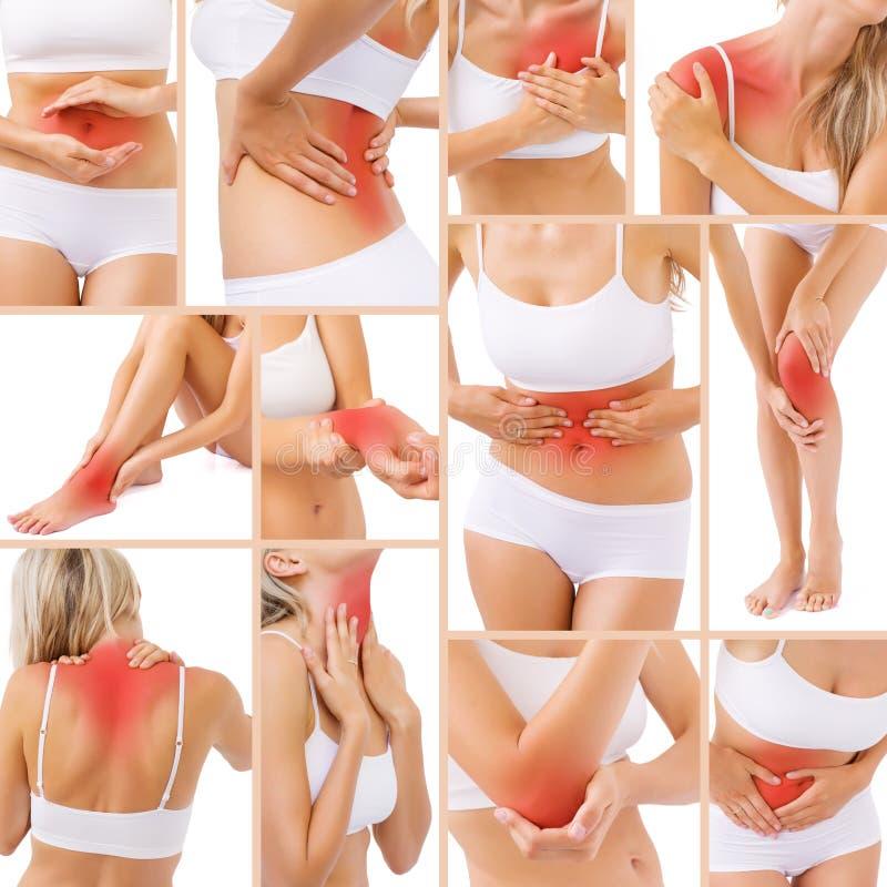Mięśnia ból w różnych częściach ciało obrazy stock
