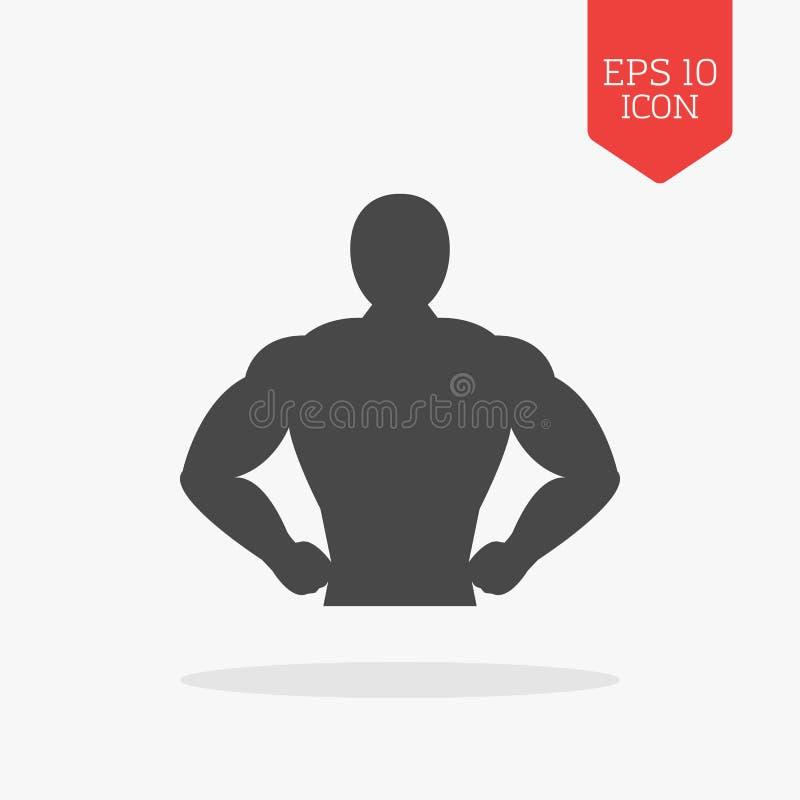 Mięśnia ciała ikona Bodybuilding pojęcie Płaski projekt szarość kolor s ilustracji