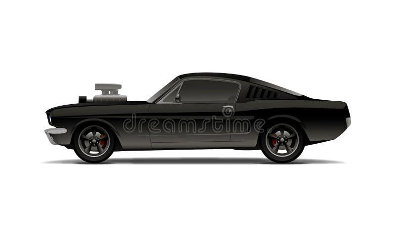 Mięśnia samochód z supercharger ilustracja wektor