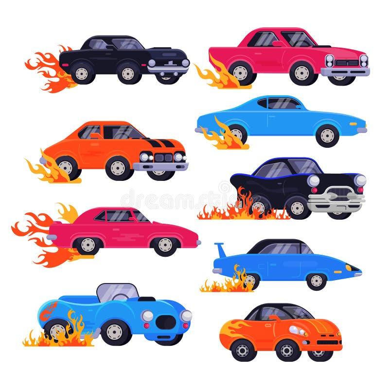 Mięśnia samochodowy wektorowy ścigać się speedcar na retro biegowym auto jeżdżeniu na zlotnym wydarzenie sportowe formuły samocho royalty ilustracja