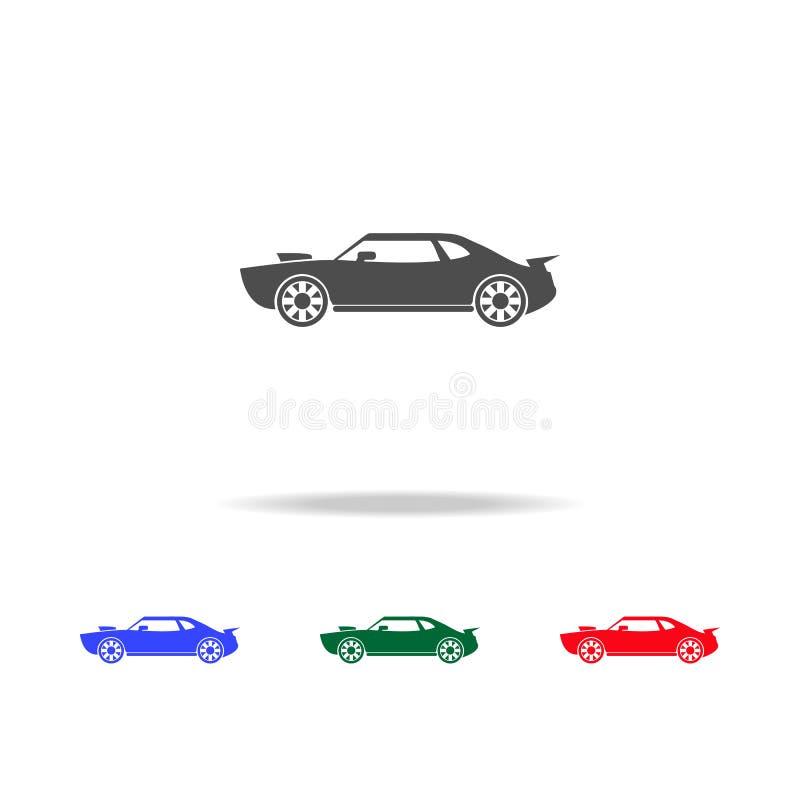 Mięśnia samochodu ikony Elementy przewieziony element w wielo- barwionych ikonach Premii ilości graficznego projekta ikona Prosta royalty ilustracja