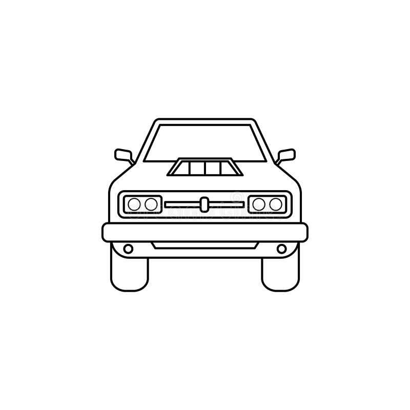 mięśnia samochodu przodu ilustracja Element ekstremum ściga się dla mobilnych pojęcia i sieci apps Cienka kreskowa mięśnia samoch royalty ilustracja