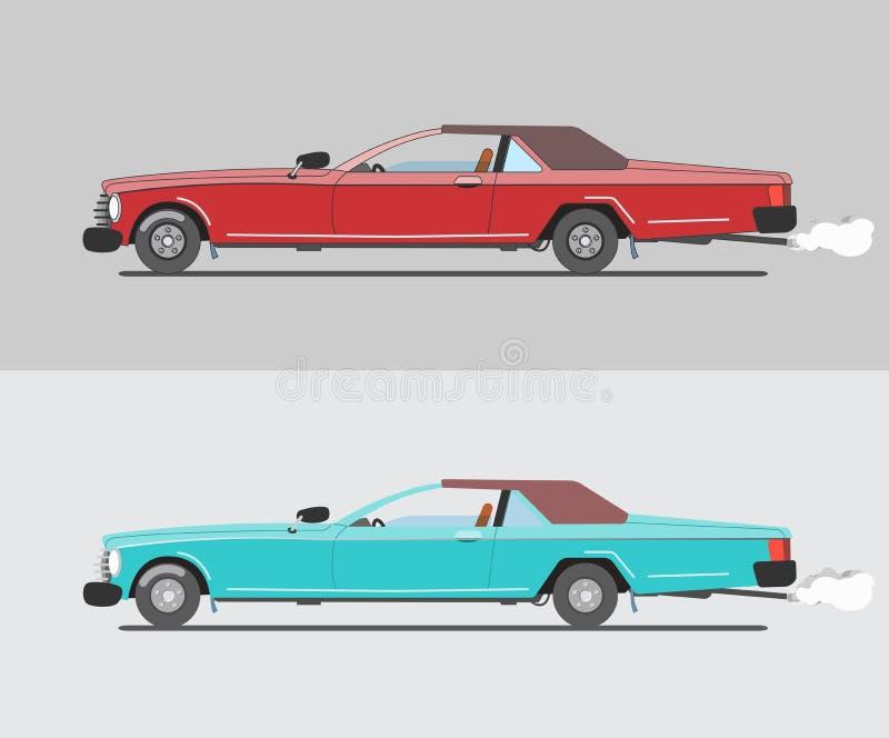 Mięśnia samochody, czerwień i turkus, royalty ilustracja