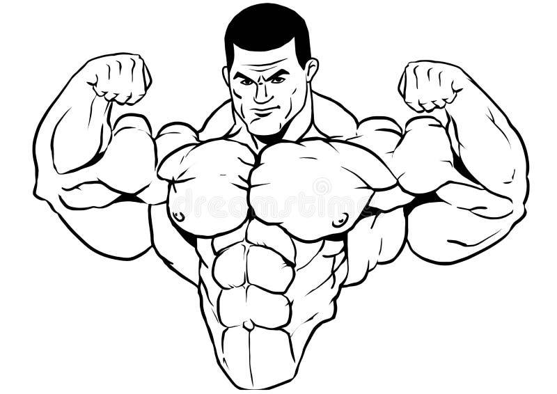 Mięśniowa półpostać bodybuilder ilustracja wektor