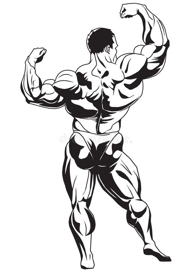 Mięśniowy bodybuilder ilustracja wektor