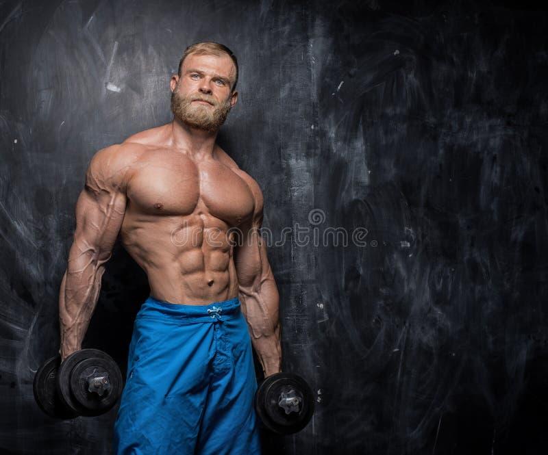 Mięśniowy bodybuilder facet nad ciemnym tłem obraz stock