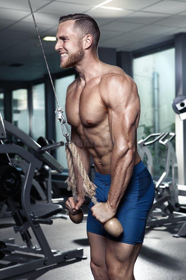 Mięśniowy bodybuilder facet robi triceps ćwiczeniom zdjęcia stock