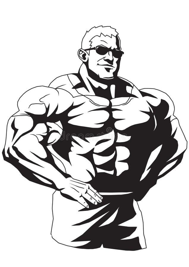 Mięśniowy bodybuilder w okularach przeciwsłonecznych ilustracji