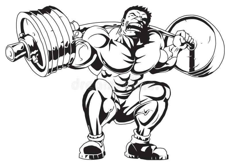 Mięśniowy bodybuilder w szkoleniu ilustracji