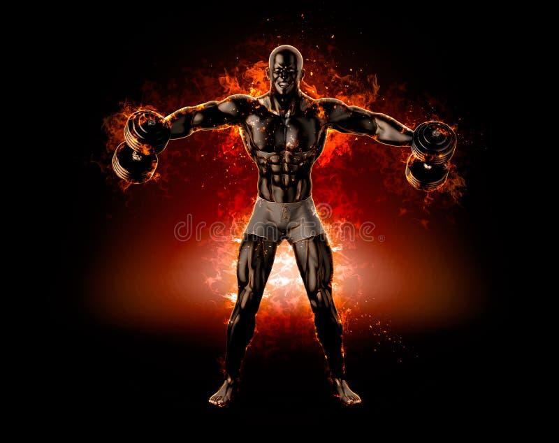 Mięśniowy bodybuilder z dumbbells Ogień wybucha pojęcie 3d il royalty ilustracja