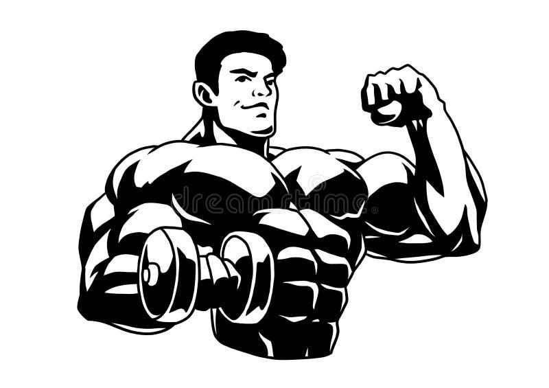Mięśniowy bodybuilder z dumbbells pokazuje dużych bicepsy ilustracji