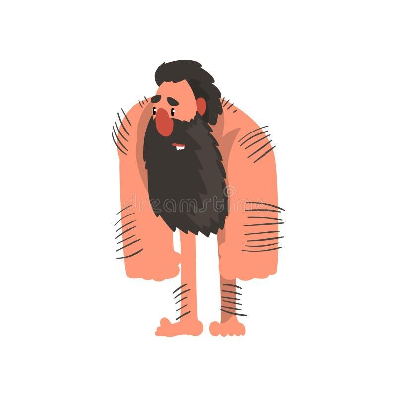 Mięśniowy brodaty pierwotny caveman, era kamienia łupanego mężczyzna charakteru prehistorycznej kreskówki wektorowa ilustracja na ilustracja wektor