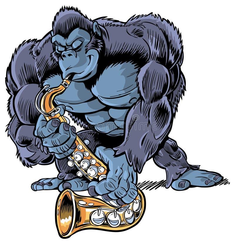 Mięśniowy kreskówka goryl Bawić się saksofon royalty ilustracja