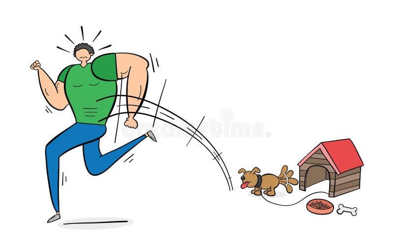 Mięśniowy mężczyzna straszył mały pies daleko od i działający, pociągany ręcznie wektorowa ilustracja Czerń kolor i kontury royalty ilustracja