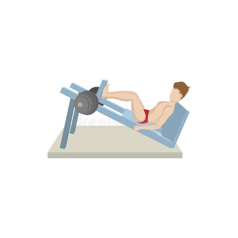 Mięśniowy mężczyzna weightlifter robi nodze naciska ikonę ilustracja wektor