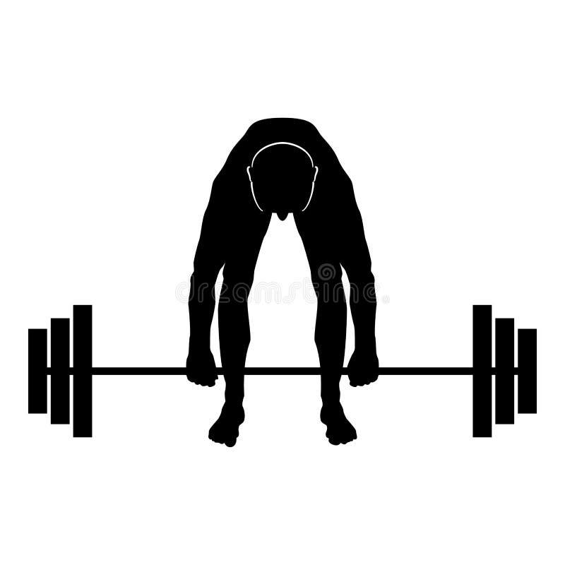 Mięśniowy mężczyzny weightlifter robi podnoszący barbell sportowa dźwiganie obciąża sylwetki ikony czerni koloru ilustrację ilustracja wektor