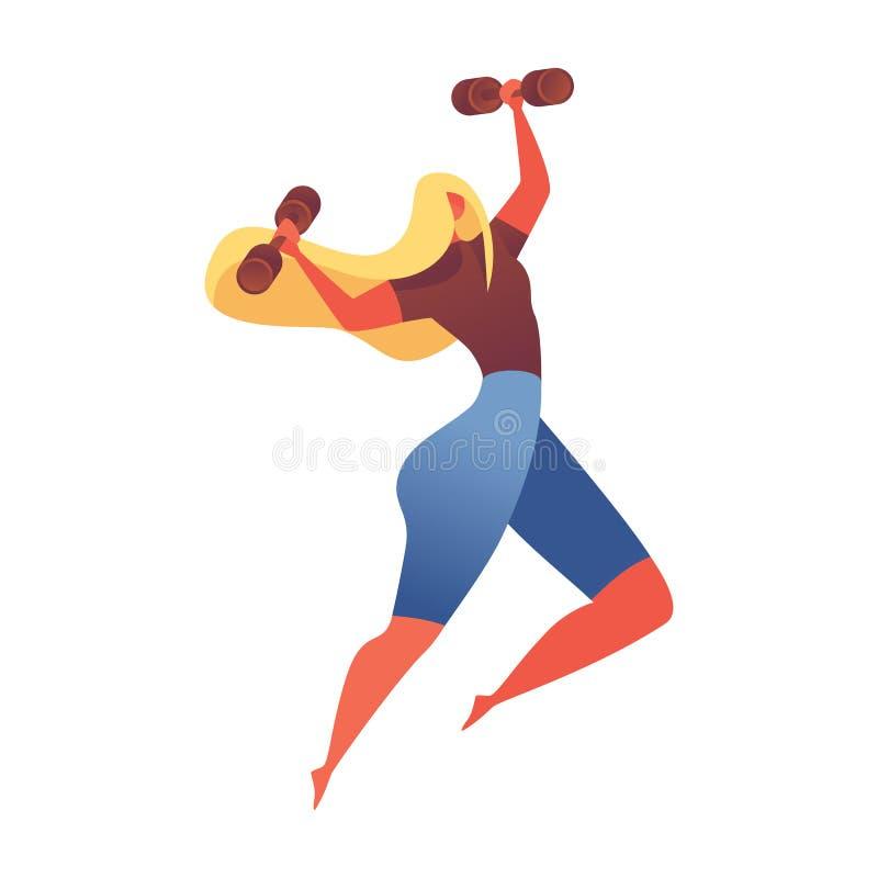 Mięśniowy młodej dziewczyny doskakiwanie z małymi dumbbels Odizolowywający na białym sporta charakterze dobrym dla gym lub aerobi royalty ilustracja