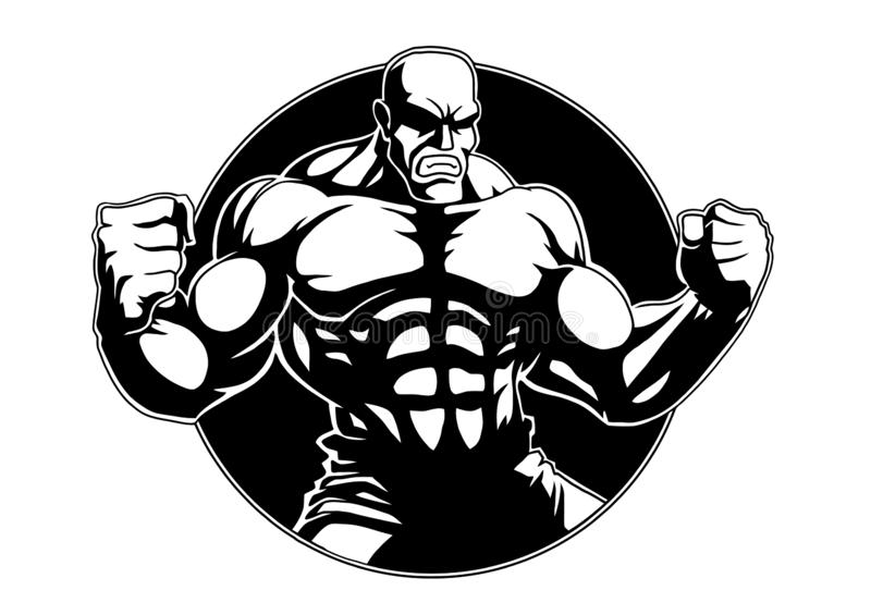 Mięśniowy silny Bodybuilder pozuje, kreskówka, logo, charakter royalty ilustracja