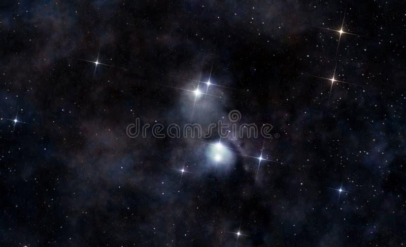 Międzygwiazdowa chmura w głębokiej przestrzeni ilustracji
