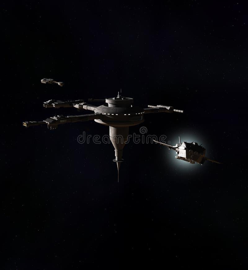 Międzygwiazdowy statek kosmiczny Opuszcza przestrzeni stację kosmiczną ilustracja wektor