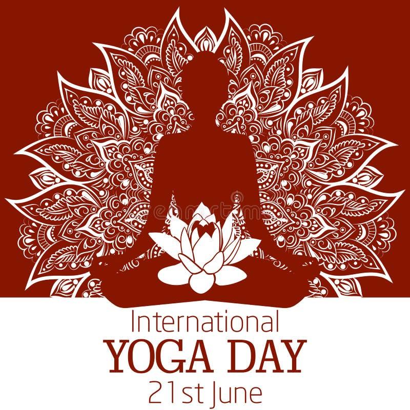 Międzynarodowa joga dnia ilustracja z piękny mandala lotosowym kwiatem i royalty ilustracja