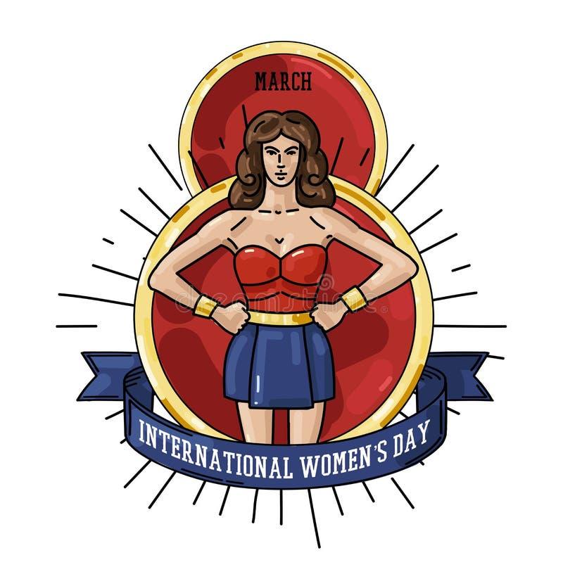 Międzynarodowa kobiet s dnia kartka z pozdrowieniami z kobiety ilustracją ilustracji