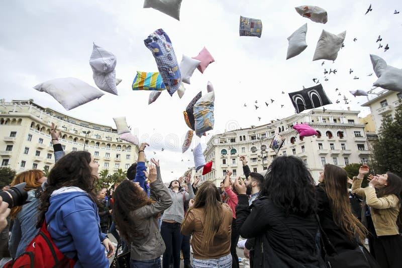 Międzynarodowa poduszki walka w Saloniki, Grecja zdjęcie royalty free