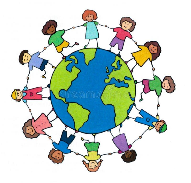 Międzynarodowa praca zespołowa i jedność royalty ilustracja