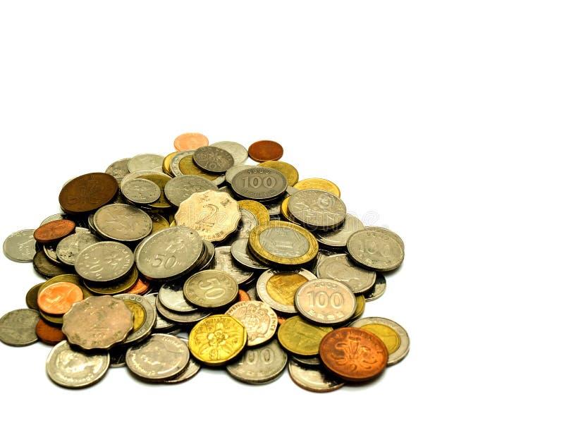 Międzynarodowa stara moneta na białym tle obrazy royalty free