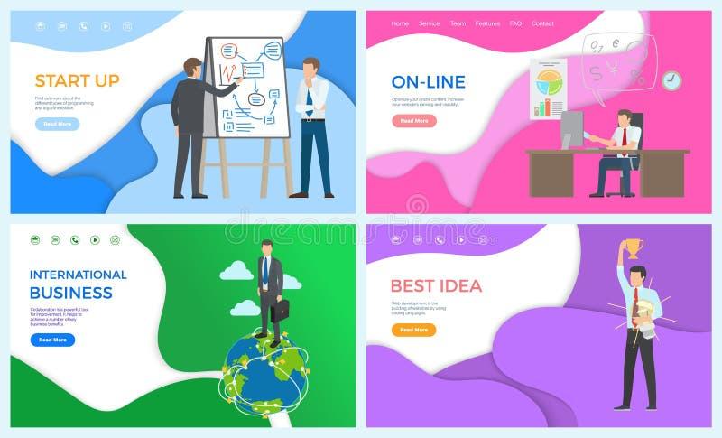 Międzynarodowego biznesmena Początkowe Online pracy ilustracji