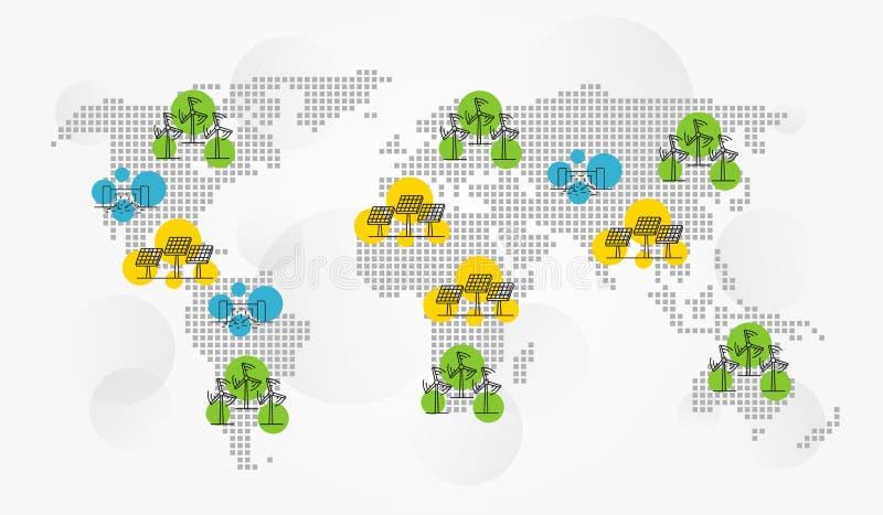 Międzynarodowego eco energetyczna wektorowa ilustracja ilustracji