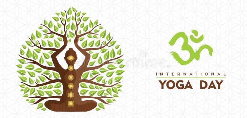 Mi?dzynarodowego joga dnia kobiety drzewny sztandar royalty ilustracja