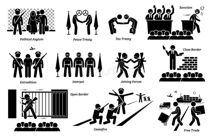 MiÄ™dzynarodowego kraju traktaty, prawa i zgod cliparts, ilustracja wektor