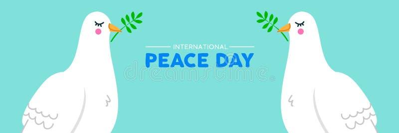 Międzynarodowego pokoju ogólnospołeczny sztandar biali gołąbka ptaki ilustracja wektor