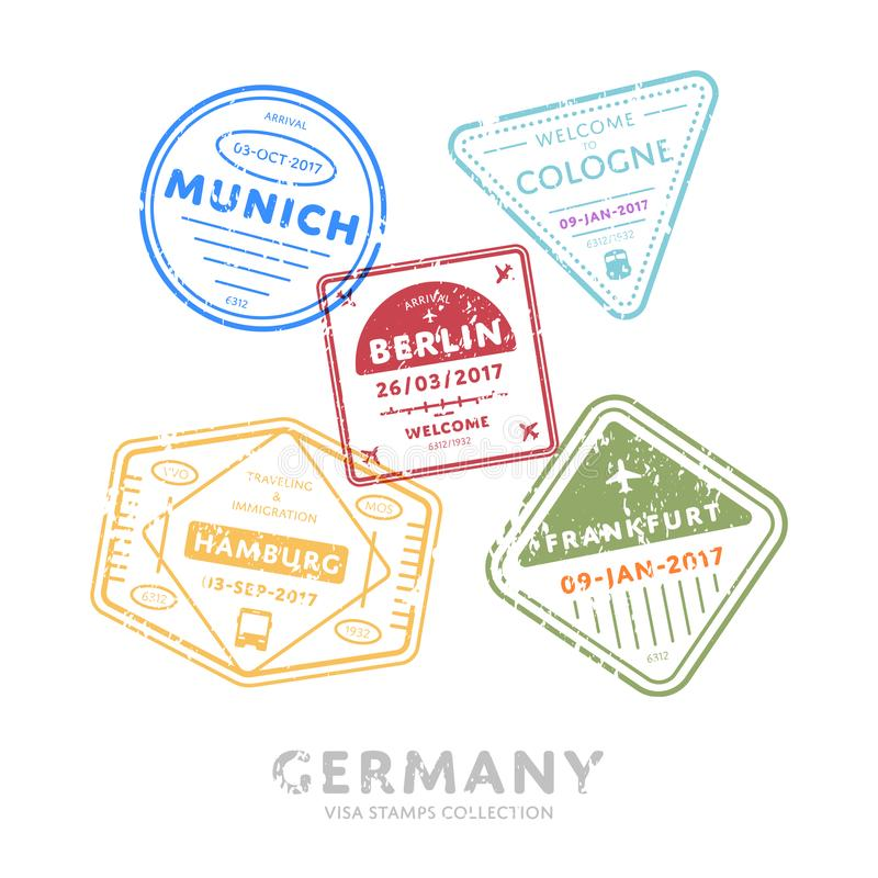 Międzynarodowej podróży wizy znaczki royalty ilustracja
