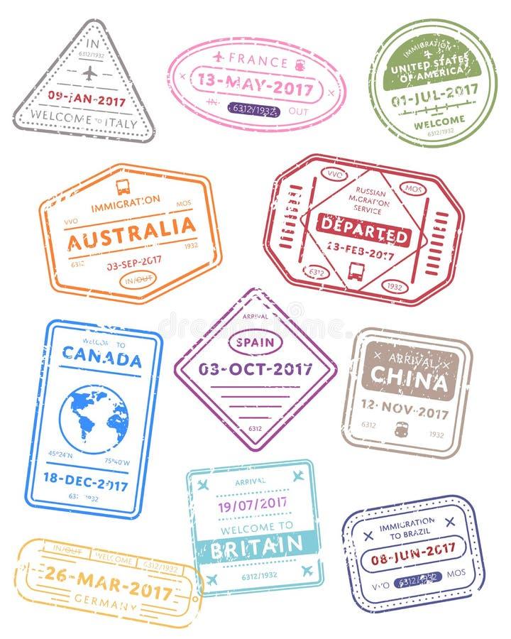 Międzynarodowej podróży wizy znaczki ilustracja wektor