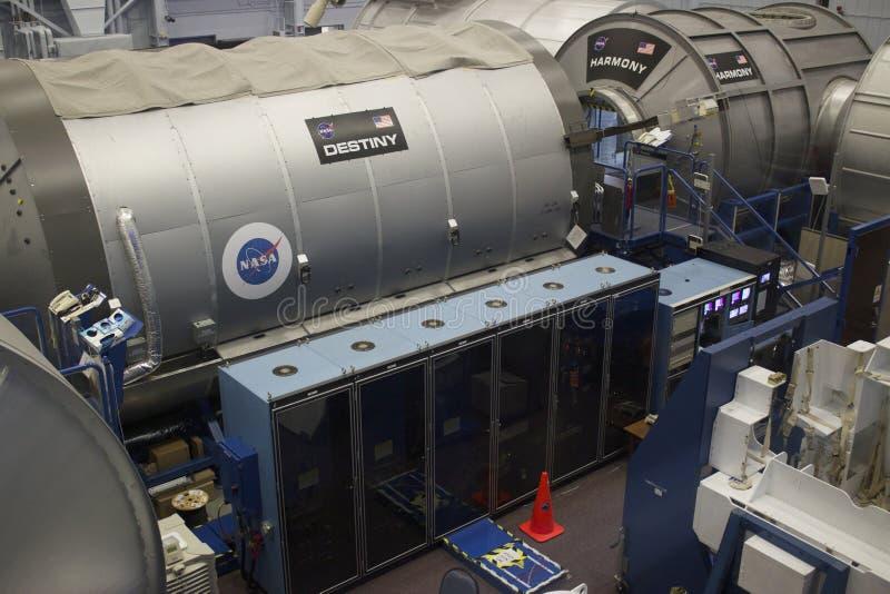 Międzynarodowej Staci Kosmicznej przeznaczenia Mockup przy NASA Johnson przestrzenią obrazy royalty free