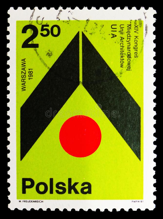 Międzynarodowy Arcitects zjednoczenie, 14th kongres, Warszawa, około 1981 royalty ilustracja
