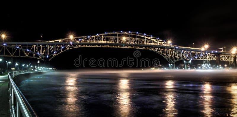 Międzynarodowy błękitne wody mosta skrzyżowanie obraz royalty free