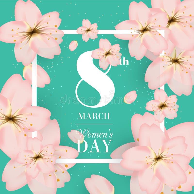 Międzynarodowy dzień kobiet ` s dzień 8 Marzec dla kartka z pozdrowieniami zapraszającego ilustracji