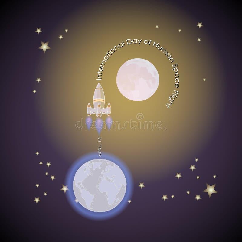 Międzynarodowy dzień ludzki lot kosmiczny Rakietowy wodowanie od ziemi ilustracji